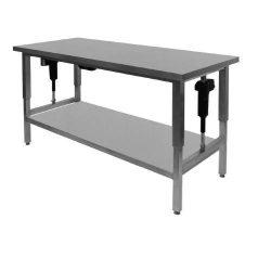 Hæve-/sænkebord, med underhylde, 60 cm dyb og længde efter mål