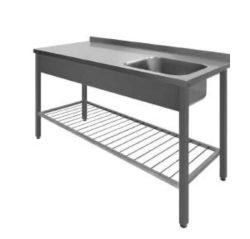 Stålbord m. vask & ribbet underhylde, 600mm dyb, mange længder