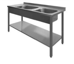 Stålbord med 2 vaske og underhylde, PSL2, 600mm dyb i mange længder