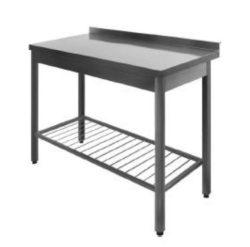 Stålbord med rillet underhylde DSS, 700mm dyb i mange længder